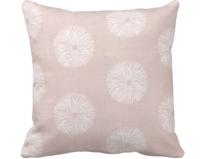 """Sea Urchin Throw Pillow or Cover, Blush/White 14, 16, 18, 20 or 26"""" Sq Pillows or Covers, Light/Dusty Pink Modern/Abstract Print"""