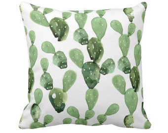 """Watercolor Cactus Throw Pillow or Cover, Green/White 14, 16, 18, 20, 26"""" Sq Pillows or Covers, Olive Succulent/Southwest/Cacti/Print"""