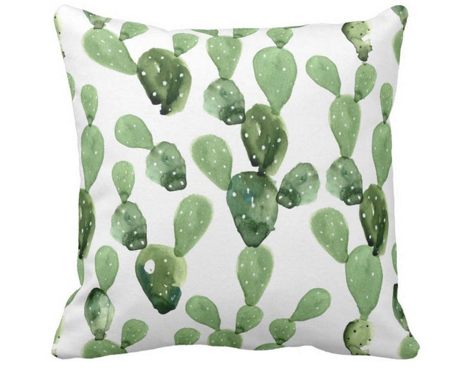 """SALE/READY 2 SHIP Watercolor Cactus Throw Pillow Cover, Green/White 20"""" Sq Pillow Cover, Olive Succulent/Southwest/Cacti/Print"""