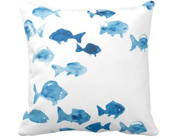 "OUTDOOR Fishies Throw Pillow or Cover 14, 16, 18, 20"" Sq Pillows/Covers, Watercolor/Painted Ocean Blue/White Modern/Beach/Nautical/Fish"