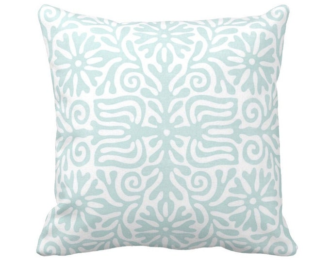 "OUTDOOR Folk Floral Throw Pillow or Cover, Sea Glass/White 14, 16, 18, 20 or 26"" Sq Pillows/Covers, Blue/Green Mexican/Boho/Bohemian/Tribal"