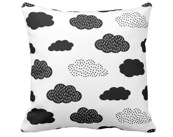 "Clouds Throw Pillow or Cover, Modern Nursery Black/White 14, 16, 18, 20"" Sq Pillows/Covers, Gender Neutral/Fun/Cloud/Sky Print/Pattern"