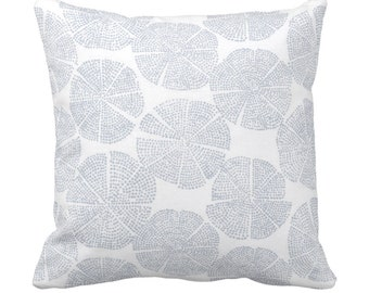 """OUTDOOR Block Print Floral Throw Pillow or Cover, Chambray/Off-White 14, 16, 18, 20, 26"""" Sq Pillows/Covers Dusty Blue Batik/Boho/Geo Print"""
