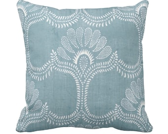 """Lotus Batik Printed Throw Pillow or Cover, Indigo 16, 18, 20 or 26"""" Square Pillows or Covers, Vintage Chinese Blue Textile Print"""
