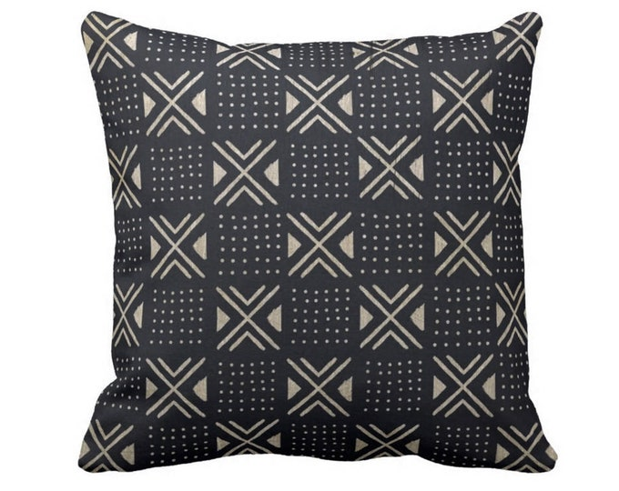 """OUTDOOR Mud Cloth Printed Throw Pillow/Cover, X's/Dots Black/Off-White 14, 16, 18, 20, 26"""" Sq Pillow/Covers, Mudcloth/Boho/Tribal/Geo Print"""