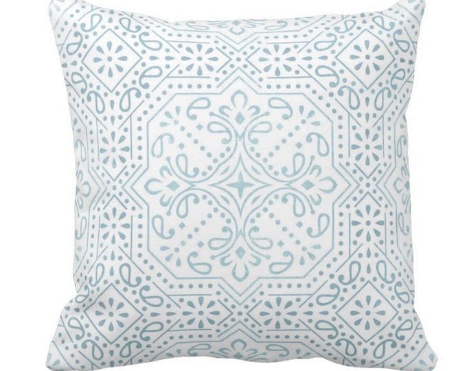 "Tile Print Throw Pillow or Cover, Sky Blue 14, 16, 18, 20 or 26"" Sq Pillows or Covers, Aqua/White Trellis/Geometric/Geo/Batik"