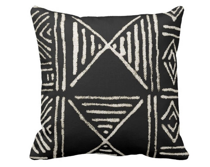 """OUTDOOR Mud Cloth Print Throw Pillow Cover, Black & Off-White 14, 16, 18, 20, 26"""" Sq Pillow Covers, Mudcloth/Boho/Geometric/African"""