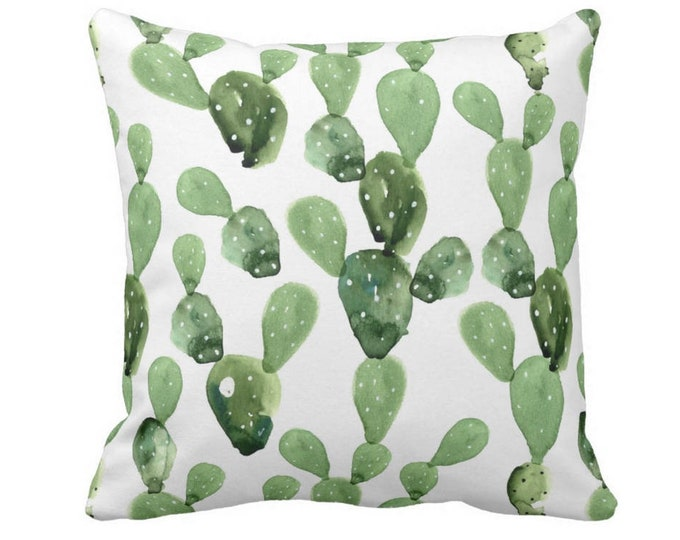 "OUTDOOR Watercolor Cactus Throw Pillow/Cover, Green/White 14, 16, 18, 20, 26"" Sq Pillows/Covers, Succulent/Southwest/Nature/Southwest Print"