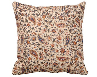 "OUTDOOR Retro Paisley Printed Throw Pillow or Cover Natural/Navy/Red/Orange 14, 16, 18, 20, 26"" Square Pillows/Covers, Vintage Textile Print"