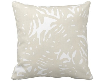 """Palm Silhouette Throw Pillow or Cover Sand/White 14, 16, 18, 20, 26"""" Sq Pillows or Covers Beige Tropical/Leaves/Palms Print/Pattern"""