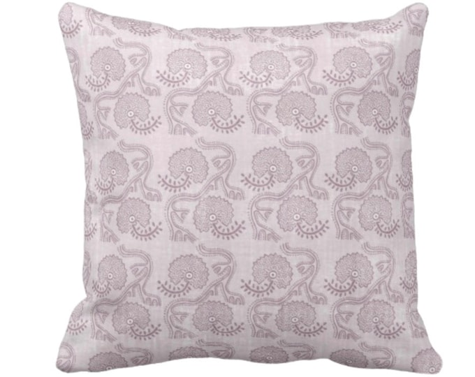 """Block Print Floral Throw Pillow or Cover, Lavender 14, 16, 18, 20 or 26"""" Sq Pillows or Covers, Dusty Purple Geometric/Tribal/Batik/Geo/Boho"""