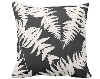 "Fern Silhouette Throw Pillow or Cover, Charcoal/Ivory 14, 16, 18, 20 or 26"" Sq Pillows or Covers, Leaf/Leaves/Modern/Botanical Print"
