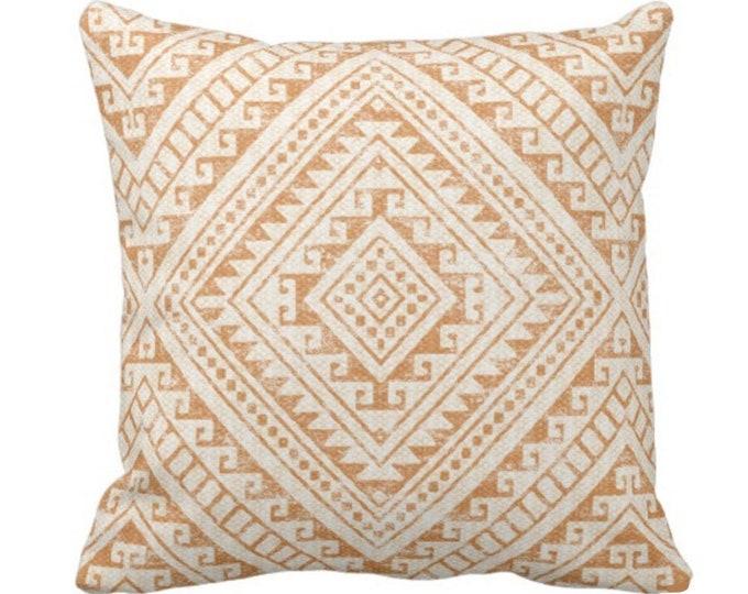 "OUTDOOR Diamond Geo Throw Pillow or Cover, Adobe 14, 16, 18, 20, 26"" Sq Pillows/Covers, Earthy Orange Geometric/Tribal/Batik/Boho/Medallion"