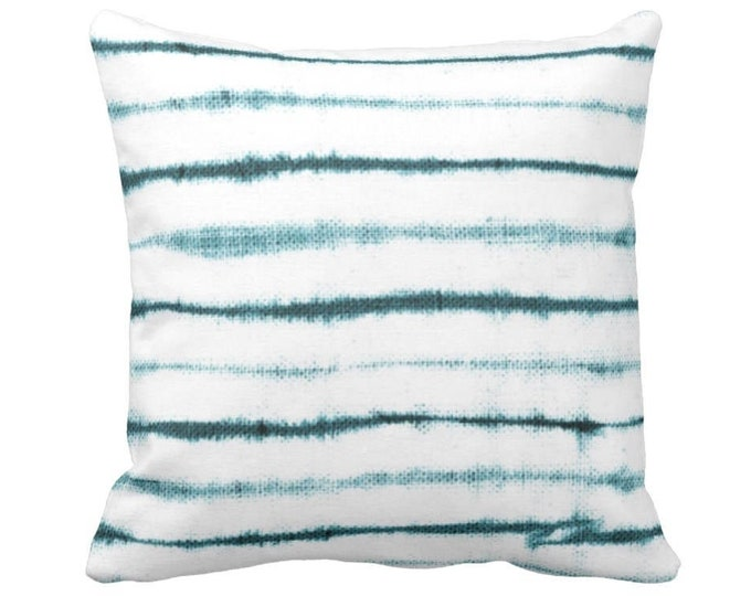 """Uneven Lines Throw Pillow or Cover, Teal/White Print 14, 16, 18, 20 or 26"""" Sq Pillows or Covers, Striped/Stripe/Line Turquoise Blue"""