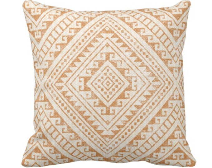 "Diamond Geo Throw Pillow or Cover, Adobe 14, 16, 18, 20 or 26"" Sq Pillows or Covers, Earthy Orange Geometric/Tribal/Batik/Geo/Boho"