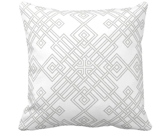 "OUTDOOR Interlocking Geo Throw Pillow or Cover, Gray/White 14, 16, 18, 20, 26"" Sq Pillows/Covers, Modern/Geometric/Trellis/Lattice/Medallion"