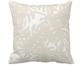 "OUTDOOR Palm Silhouette Throw Pillow or Cover Sand/White 14, 16, 18, 20, 26"" Sq Pillows/Covers Beige Tropical/Botanical/Leaves/Palms Print"