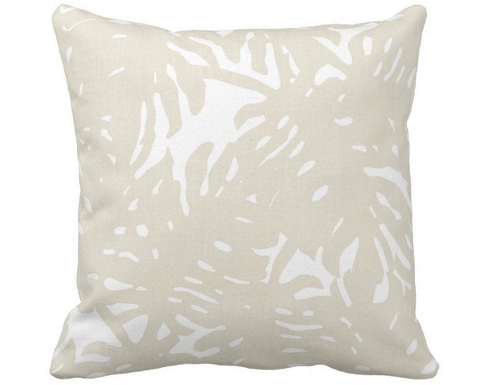"""OUTDOOR Palm Silhouette Throw Pillow or Cover Sand/White 14, 16, 18, 20, 26"""" Sq Pillows/Covers Beige Tropical/Botanical/Leaves/Palms Print"""