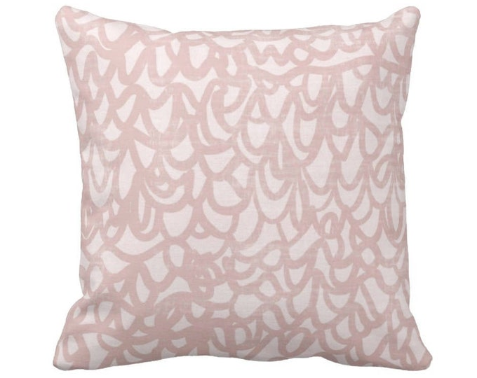 """OUTDOOR Scribble Lace Throw Pillow/Cover, Dusty Blush 14, 16, 18, 20, 26"""" Sq Pillows/Covers, Pink Modern/Abstract/Geo/Geometric/Boho Print"""