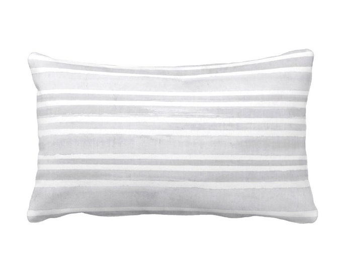 """Watercolor Stripe Throw Pillow or Cover, Pewter/White 14 x 21"""" Lumbar Pillows or Covers, Gray Stripes/Lines/Hand Painted Print"""