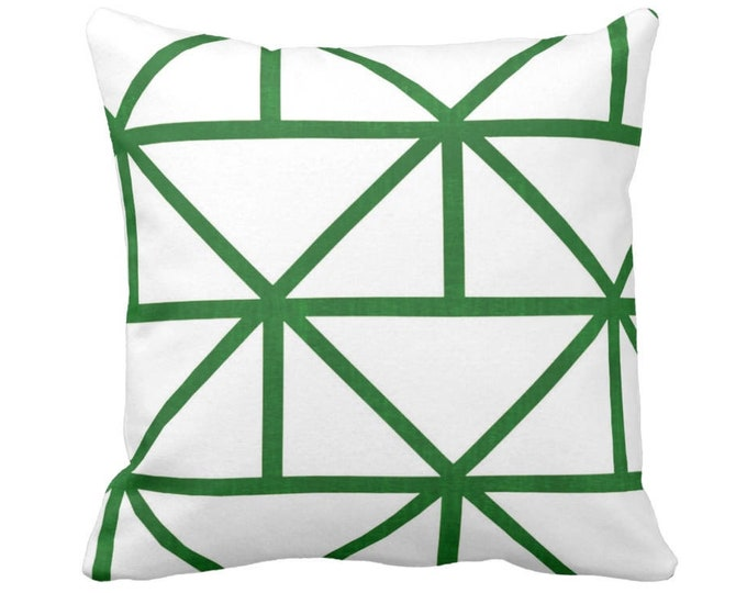 """Geometric Throw Pillow or Cover, Modern Emerald/White Print 14, 16, 18, 20 or 26"""" Sq Pillows or Covers, Green Geo/Diamond/Triangle"""