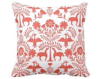 """Otomi Throw Pillow or Cover, White/Coral 14, 16, 18, 20 or 26"""" Sq Pillows or Covers, Orange Mexican/Boho/Floral/Animals/Nature Print"""
