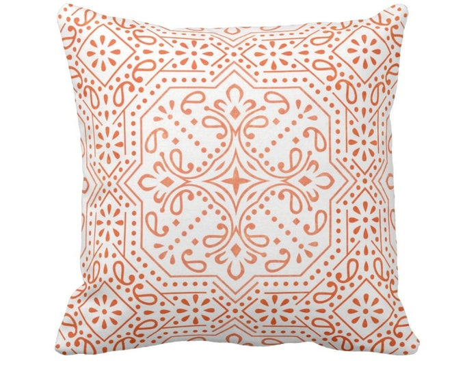 "OUTDOOR Tile Print Throw Pillow or Cover, Ivory/Coral 14, 16, 18, 20, 26"" Sq Pillows/Covers, Orange/Red Trellis Geometric/Medallion/Batik"