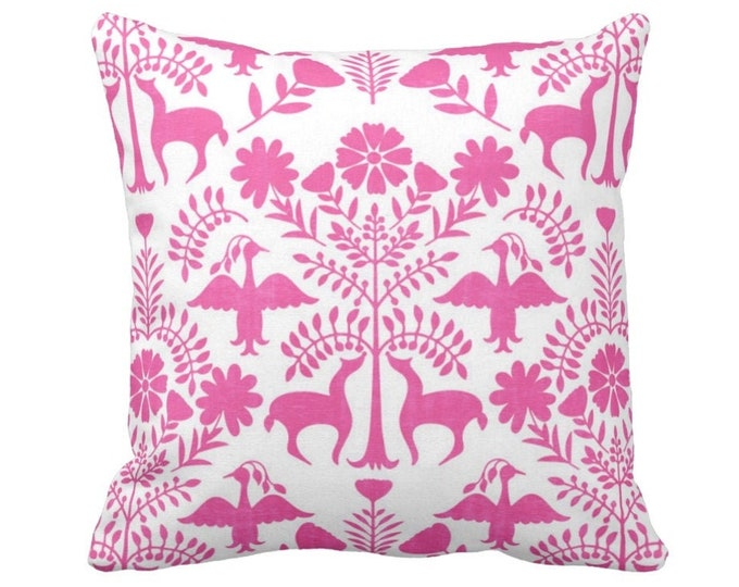 """OUTDOOR Otomi Throw Pillow or Cover, Pink/White 14, 16, 18, 20, 26"""" Sq Pillows/Covers, Bright Boho/Floral/Birds/Flowers/Animals/Nature Print"""