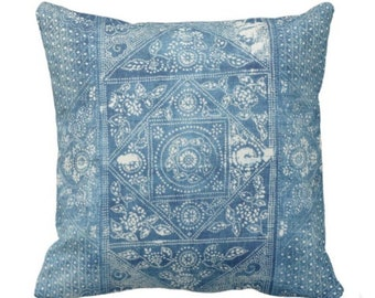 """Batik PRINTED Throw Pillow or Cover, Indigo 14, 16, 18, 20 or 26"""" Square Pillows or Covers, Maio/Hmong Blue Vintage Chinese Textile Print"""