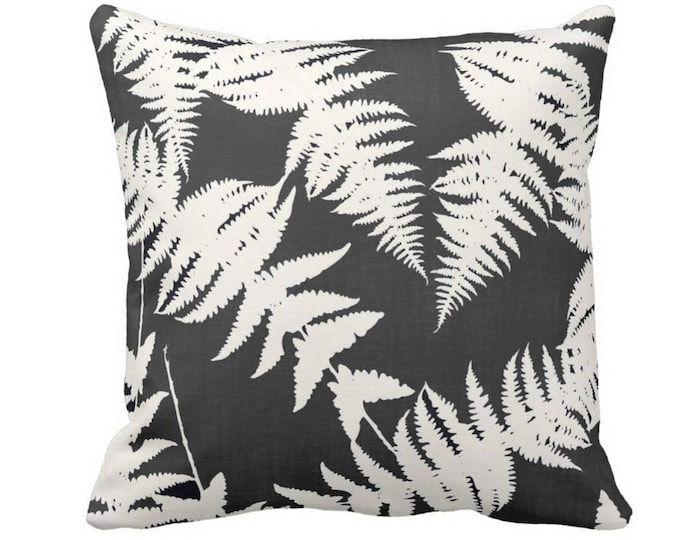"OUTDOOR Fern Silhouette Throw Pillow or Cover, Charcoal/Ivory 14, 16, 18, 20 or 26"" Sq Pillows/Covers, Leaf/Leaves/Modern/Botanical Print"