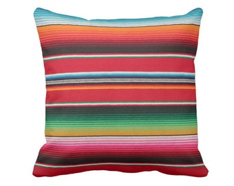 "OUTDOOR Serape Stripe Throw Pillow/Cover, Printed Mexican Blanket/Rug 14, 16, 18, 20, 26"" Sq Pillows/Covers Rainbow/Colorful/Stripes/Striped"