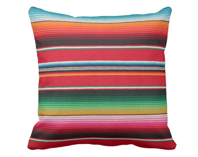 """OUTDOOR Serape Stripe Throw Pillow/Cover, Printed Mexican Blanket/Rug 14, 16, 18, 20, 26"""" Sq Pillows/Covers Rainbow/Colorful/Stripes/Striped"""