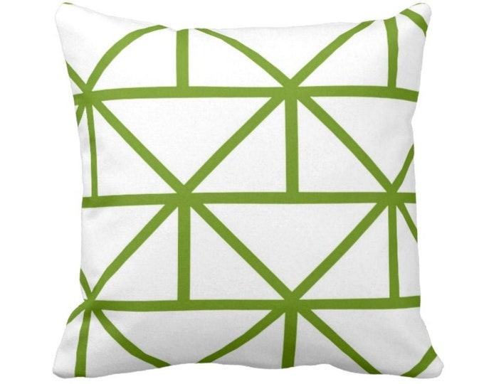 "OUTDOOR Geometric Throw Pillow or Cover, Grass/White 14, 16, 18, 20, 26"" Sq Pillows/Covers, Bright Green Modern/Geo/Lines/Stripes/Lattice"