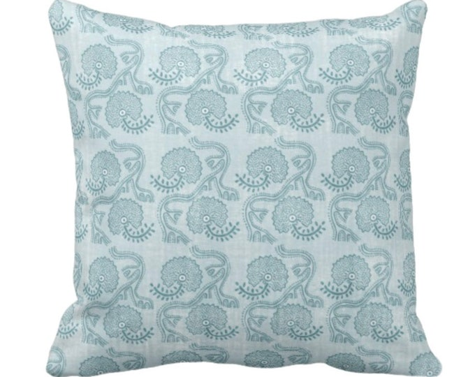 """Block Print Floral Throw Pillow or Cover, Dusty Turquoise 14, 16, 18, 20, 26"""" Sq Pillows or Covers, Blue/Green Flower/Batik/Geo/Boho Pattern"""