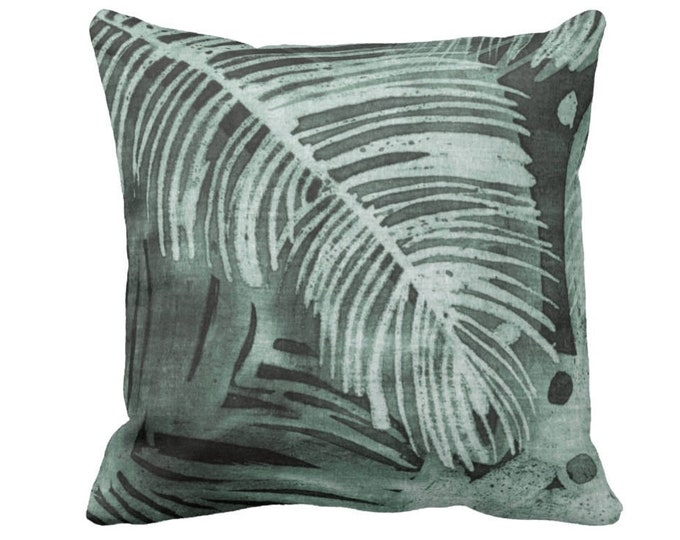 """Tropical Leaves Print Throw Pillow or Cover, Kale 14, 16, 18, 20 or 26"""" Square Pillows or Covers, Batik/Watercolor Dark Dusty Green"""
