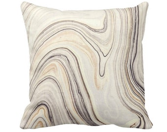 "Marble Print Throw Pillow or Cover, Taupe/Beige 14, 16, 18, 20 or 26"" Sq Pillows or Covers, Gray Marbled/Abstract/Modern/Wave/Swirl"