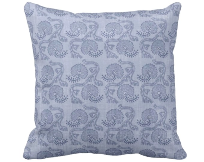 "OUTDOOR Block Print Floral Throw Pillow or Cover, Dusty Blue 14, 16, 18, 20, 26"" Sq Pillows/Covers, Flower/Batik/Boho/Blockprint Pattern"