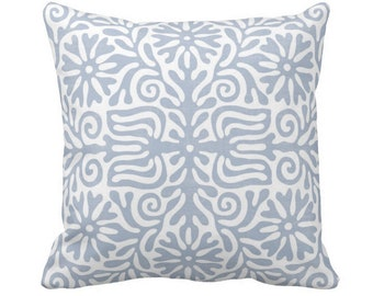 "OUTDOOR Folk Floral Throw Pillow or Cover, Chambray 14, 16, 18, 20 or 26"" Sq Pillows/Covers, Dusty Blue/White Tribal/Batik/Geo/Boho/"