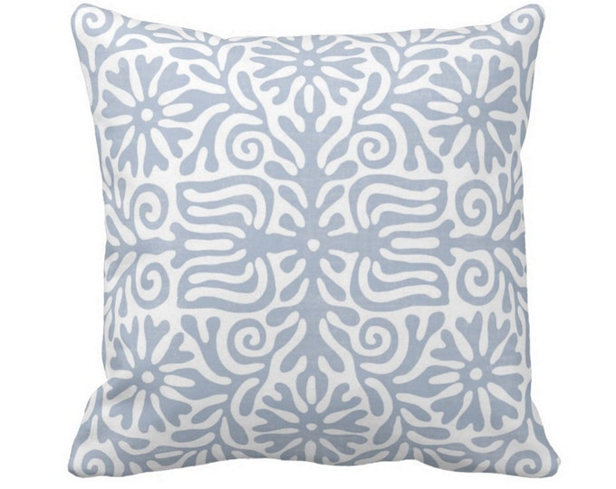 """Folk Floral Throw Pillow or Cover, Chambray 14, 16, 18, 20 or 26"""" Sq Pillows or Covers, Dusty Blue/White Tribal/Batik/Geo/Boho/"""
