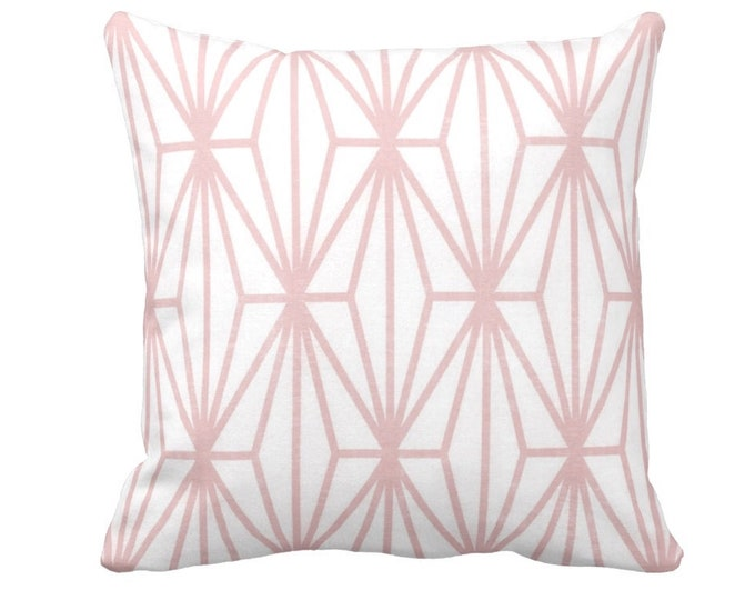"""Modern Geo Throw Pillow or Cover, Pink/White Print 16, 18, 20 or 26"""" Sq Pillows or Covers, Lines/Japanese/Geometric/Stripe/Striped"""