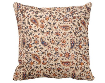 "Retro Paisley Throw Pillow or Cover, Natural/Navy/Red/Orange 16, 18, 20 or 26"" Square Pillows or Covers, Vintage Textile Print"