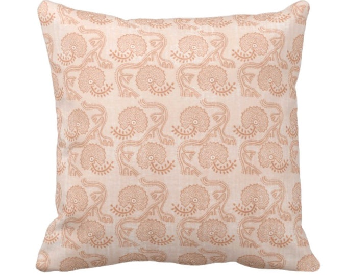 """Block Print Floral Throw Pillow or Cover, Dusty Coral 14, 16, 18, 20, 26"""" Sq Pillows/Covers, Earthy Orange Flower/Batik/Geo/Boho Pattern"""