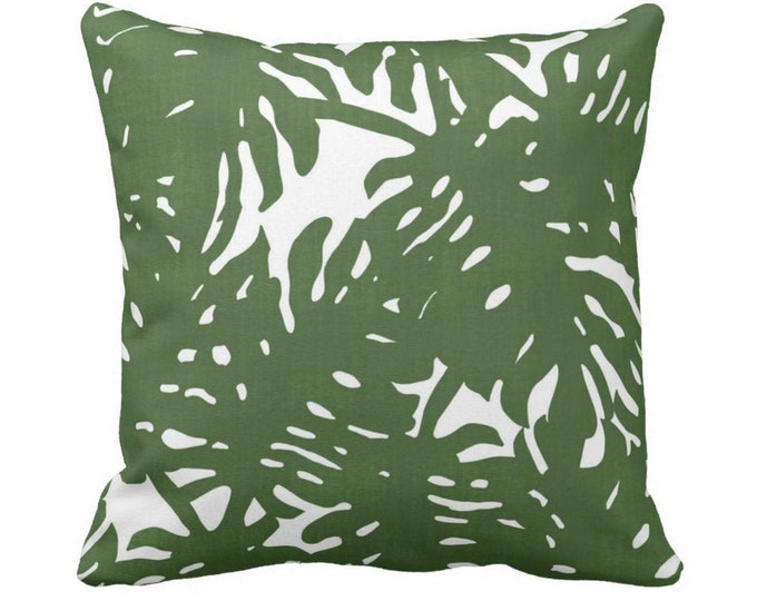 "OUTDOOR Palm Silhouette Throw Pillow or Cover Green/White 14, 16, 18, 20, 26"" Sq Pillows/Covers Tropical/Leaves Botanical Print/Pattern"