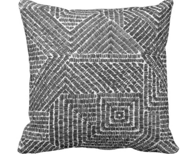 "Tribal Geo Throw Pillow or Cover, Black & White 14, 16, 18, 20 or 26"" Sq Pillows or Covers, Scratch Geometric/Tribal/Batik/Geo/Boho/Diamond"
