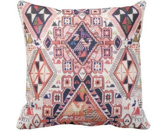"""Tribal Geo w/ Birds PRINTED Throw Pillows or Covers Sq 14, 16, 18, 20 or 26"""" Throw Cover/Pillow Pink, Orange, Red Geometric/Boho/Native"""