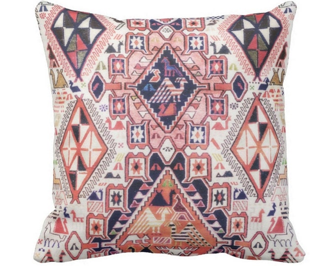"""Tribal Geo Print w/ Birds Pillows or Covers Sq 14, 16, 18, 20 or 26"""" Throw Cover/Pillow Pink, Orange, Red Geometric/Boho/Native"""
