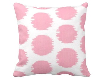 """Ikat Dot Print Throw Pillow or Cover, Pink/White Geometric 16, 18, 20 or 26"""" Sq Pillows or Covers, Light/Pastel Circles Pattern"""