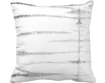 "Subtle Stripe Throw Pillow or Cover, Gray/White 14, 16, 18, 20 or 26"" Sq Pillows or Covers, Shibori/Lines/Striped/Tribal/Geo Print"