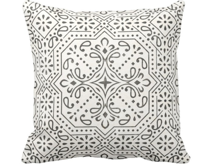 """OUTDOOR Tile Print Throw Pillow or Cover, Charcoal/Off-White 14, 16, 18, 20 or 26"""" Sq Pillows/Covers Trellis/Geometric/Batik/Geo Pattern"""