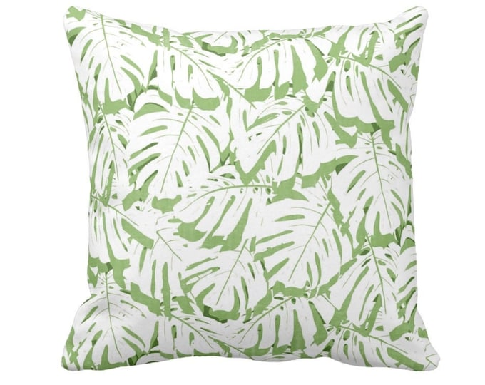 """OUTDOOR Palm Print Throw Pillow/Cover, Cactus Green/White 14, 16, 18, 20, 26"""" Sq Pillows/Covers, Olive/Lime Tropical/Botanical Palms Pattern"""